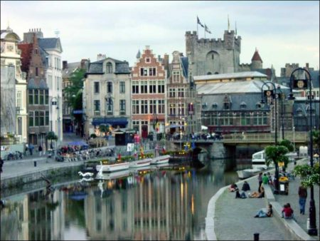 Historical Buildings on Ostend Harbor in Belgium