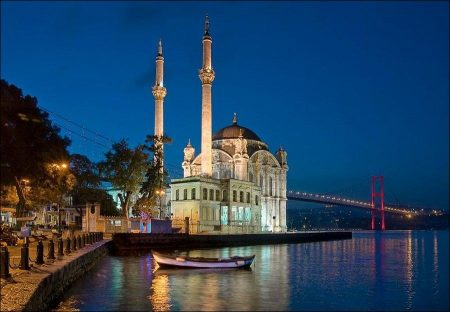 Bosphorus River Bridge and Ortakoy Mosque in Istanbul
