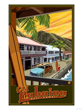 Hawaii: Old Lahaina Fishing Town with Surfer Art Print