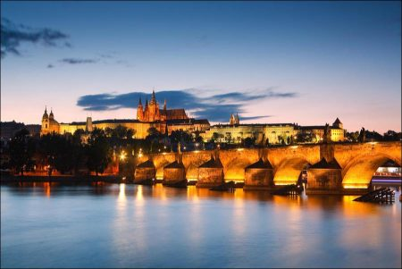 An Evening View of the Skyline of Old Prague